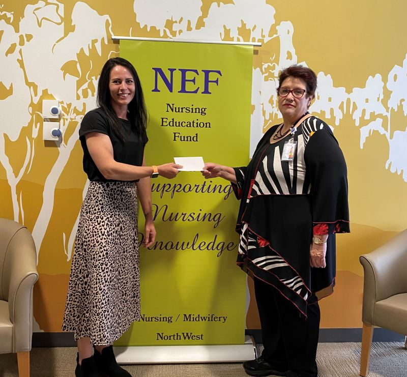 Michelle Gillet accepting her NEF scholarship